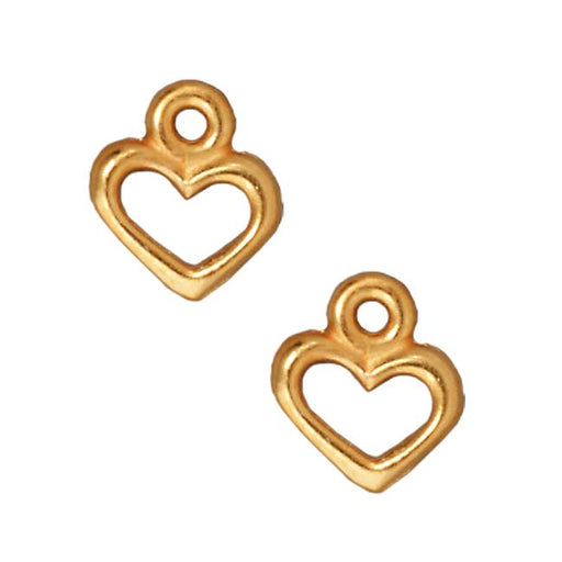 TierraCast 22K Gold Plated Pewter Open Heart Charm 9mm (2)