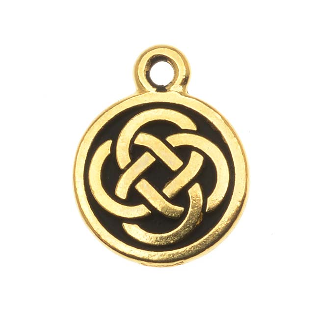 TierraCast 22K Gold Plated Pewter Celtic Knot Round Charm 15mm (1)