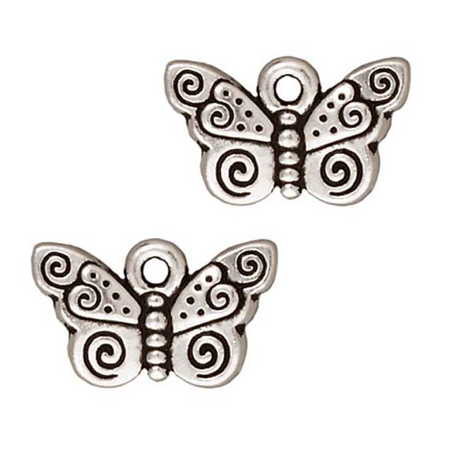 TierraCast Fine Silver Plated Pewter Spiral Butterfly Charm 15mm (1)