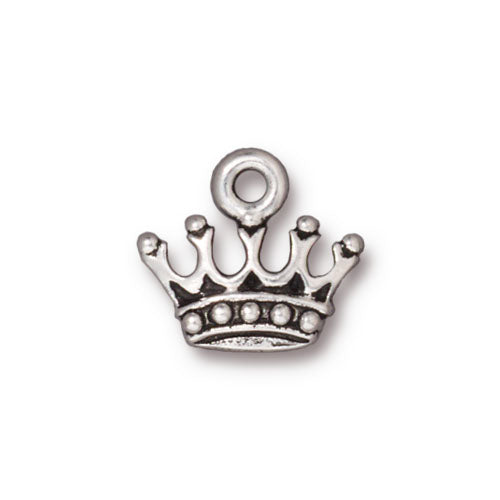 TierraCast Fine Silver Plated Pewter Princess Crown Charm 13mm (1)