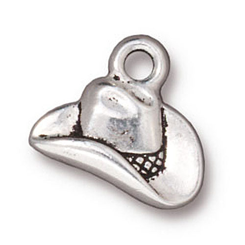 TierraCast Fine Silver Plated Pewter Western Cowboy Hat Charm 12mm (1)