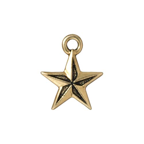TierraCast 22K Gold Plated Pewter Nautical Star Charm 17.5mm (1)