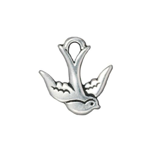 TierraCast Fine Silver Plated Pewter Swallow Bird Charm 17mm (1)