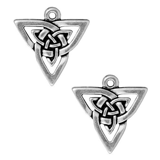 TierraCast Silver Plated Pewter Celtic Open Triangle Pendant Charm 21mm (1)
