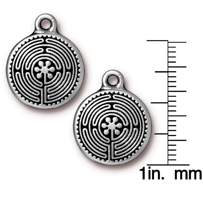 TierraCast Antiqued Silver Plated Labyrinth Pendant Charm 21mm (1)