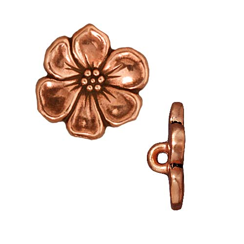 TierraCast Antiqued Copper Plated Lead-Free Pewter Apple Blossom Buttons 15.5mm (2)