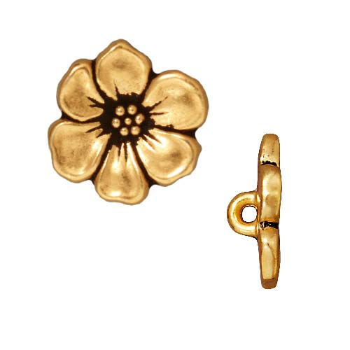 TierraCast Antiqued 22K Gold Plated Lead-Free Pewter Apple Blossom Buttons 15.5mm (2)