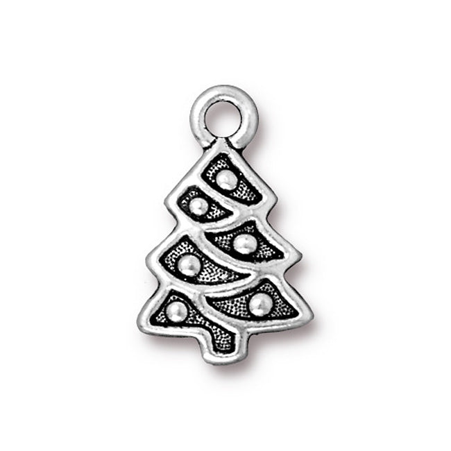 TierraCast Antiqued Silver Plated Lead-Free Pewter Charm Decorated X-Mas Tree 20mm (1)