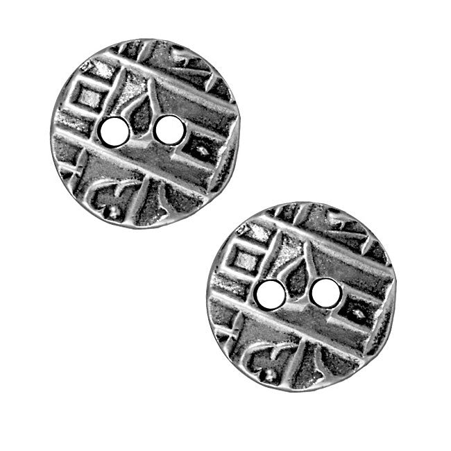 TierraCast Antiqued Pewter Coin Button Abstract Design 17.5mm (2)