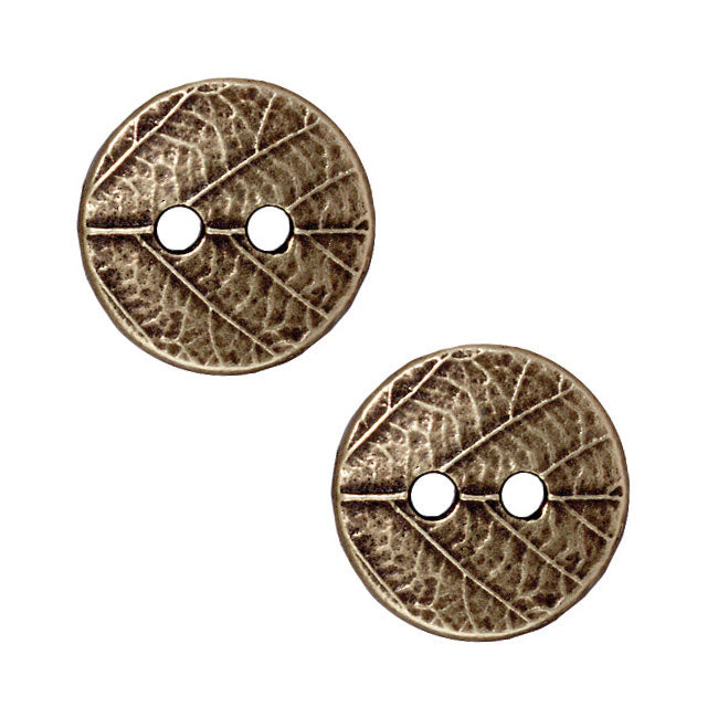 TierraCast Brass Oxide Finish Pewter Round Leaf Print Button 17mm (2)
