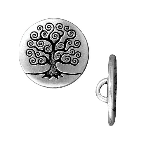 TierraCast Antiqued Silver Plated Pewter Tree Of Life Button 15.5mm (2)