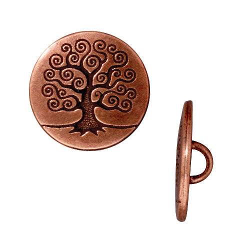 TierraCast Antiqued Copper Plated Pewter Tree Of Life Button 15.5mm (2)