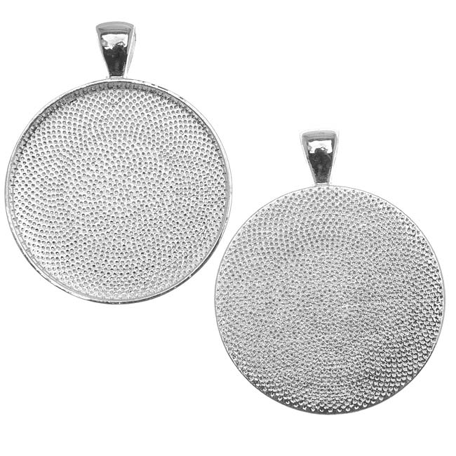 Silver Plated Round Bezel Pendant 30mm - 1 1/6 Inch (1)