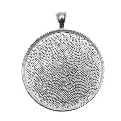Bezel Pendant, Round 38mm Inner Area, 1 Piece, Silver Plated