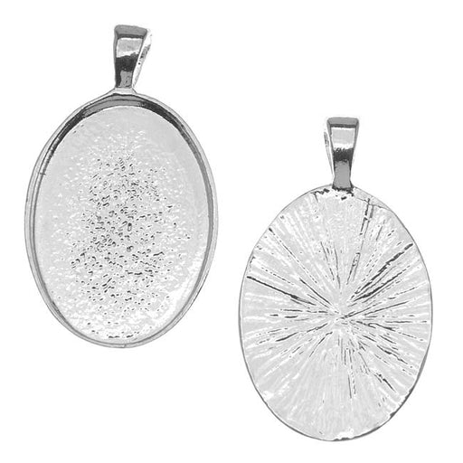 Silver Plated Oval Bezel Pendant 18mm x 25mm (1)