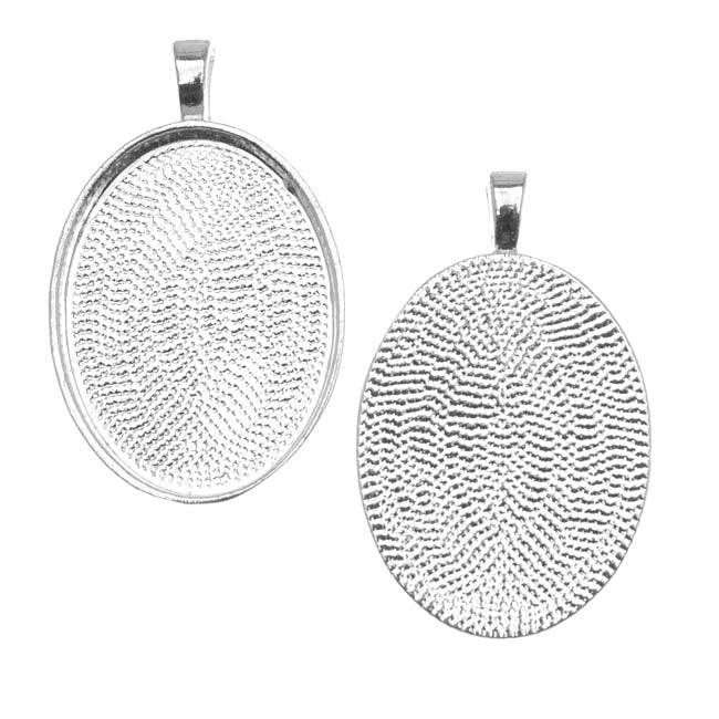 Silver Plated Oval Bezel Pendant 22mm x 30mm (1)