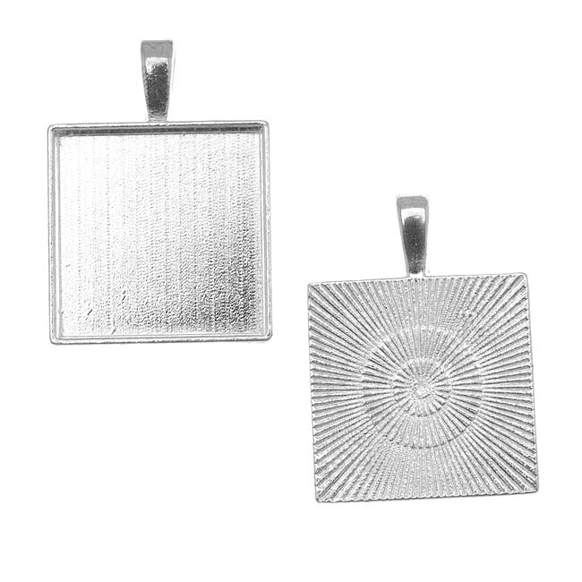 Silver Plated Square Bezel Pendant 20mm - 4/5 Inch (1)