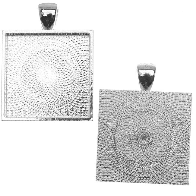 Silver Plated Square Bezel Pendant 25mm - 1 Inch (1)