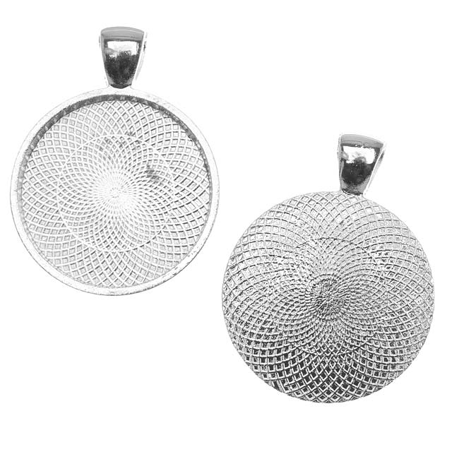 Bezel Pendant, Round 25mm Inner Area, 1 Piece, Antiqued Silver Plated