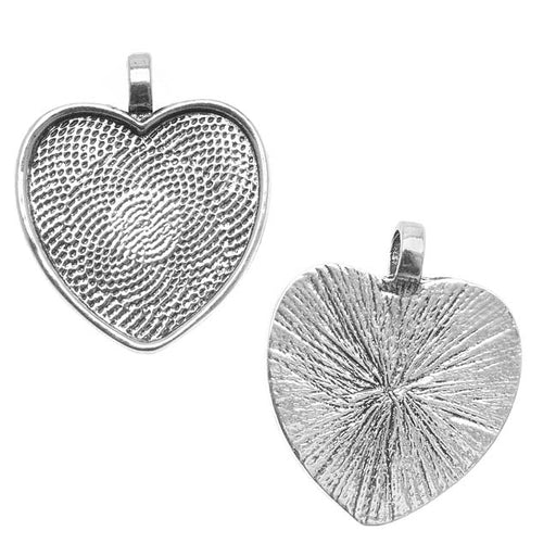 Bezel Pendant, Heart 25mm Inner Area, 1 Piece, Antiqued Silver Plated