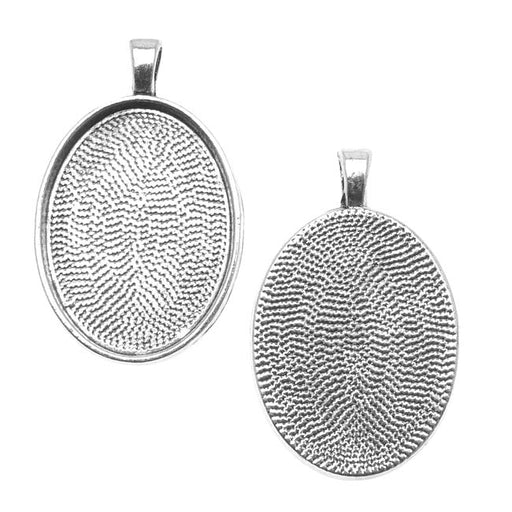 Bezel Pendant, Oval 30x22mm Inner Area, 1 Piece, Antiqued Silver Plated