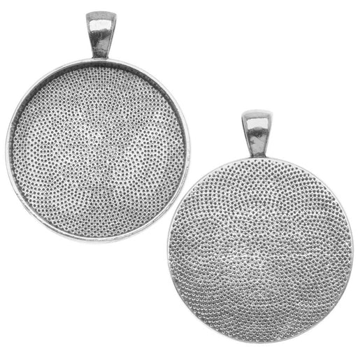 Antiqued Silver Plated Round Bezel Pendant 30mm - 1 1/6 Inch (1)