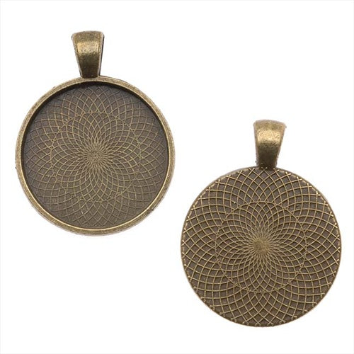 Antiqued Brass Color Round Bezel Pendant 25mm (1 Inch) (1)
