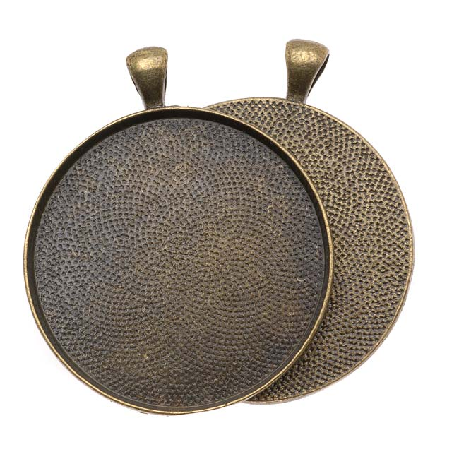 Antiqued Brass Color Round Bezel Pendant 38mm - 1 1/2 Inch (1)