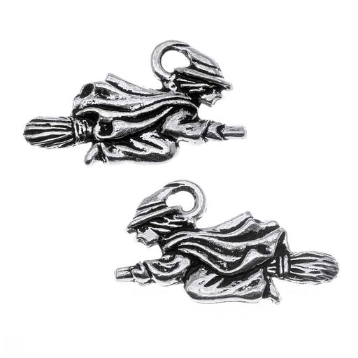 TierraCast Antiqued Silver Lead-Free Charm - Witch Flying On Broom Halloween 19mm (2)