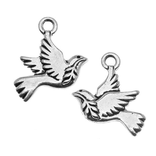 TierraCast Antiqued Silver Lead-Free Charm - Peace Dove Christmas 19mm (2)