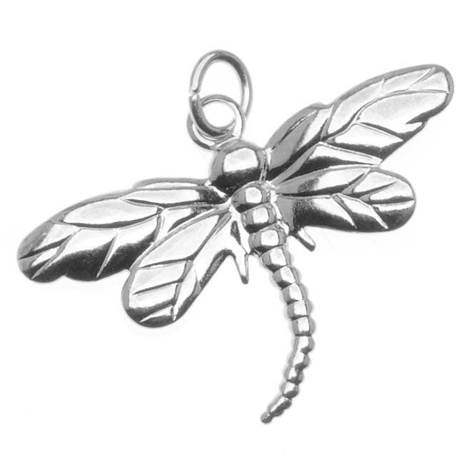 Silver Plated Dragonfly Charm With Ring - 26x18.5mm (6)
