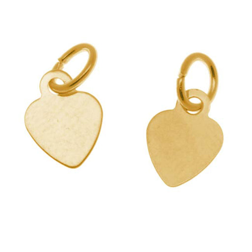 22K Gold Plated Small Heart Charm With Ring - 8.5x6.5mm (6)