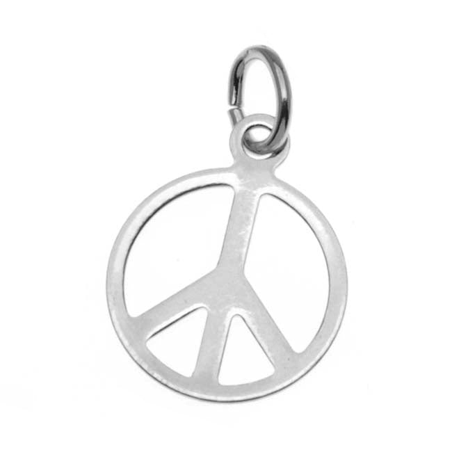 Silver Plated Sleek Peace Sign Charm - 11mm Diameter (6)
