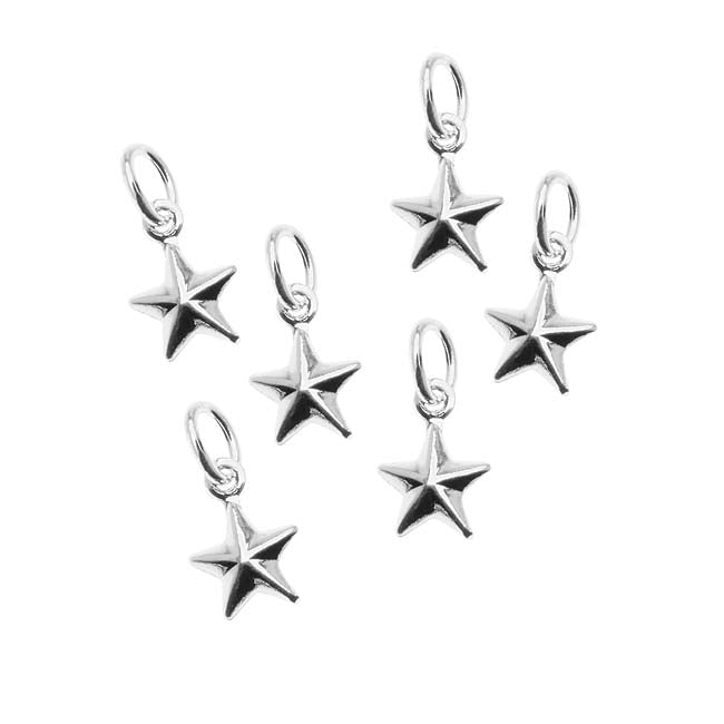 Silver Plated Small Puff Nautical Star Charm - 9x6.5mm (6)