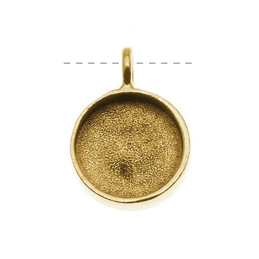 Nunn Design Antiqued Gold Plated Pewter Large Bezel Circle Pendant 19mm