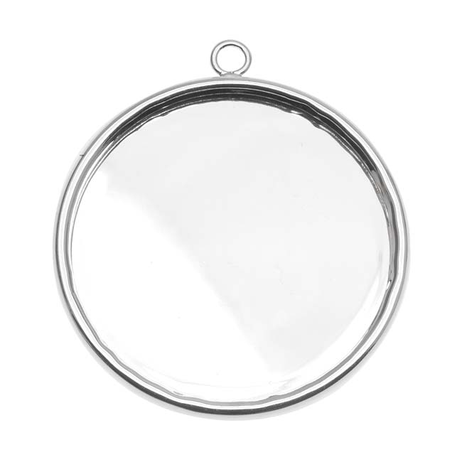 Silver Plated Large Round Bezel Pendant - 30.5mm Diameter (1)