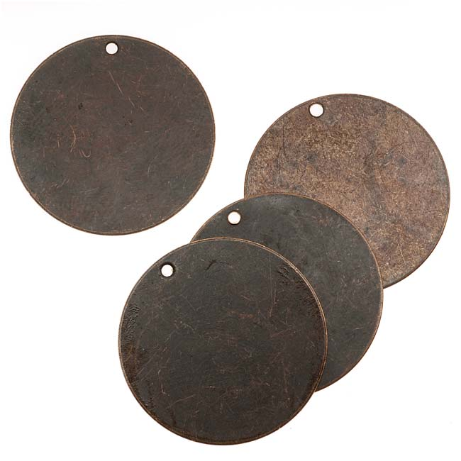 Vintaj Natural Brass Rustic Altered Blank Circle Pendants 25mm (4)