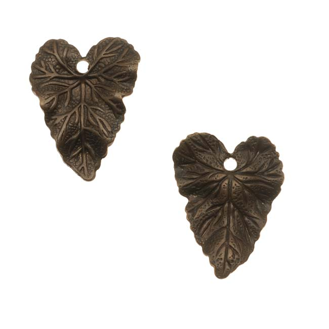 Vintaj Natural Brass Woodland Leaf Charms 18mm (2)