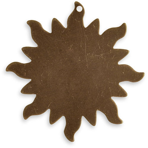 Vintaj Natural Brass Altered Blank Stamping Dancing Sun Pendant 33mm (1)