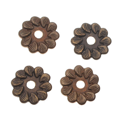 Vintaj Natural Brass Decorative Pinwheel Washer Flowers 7.5mm (10)