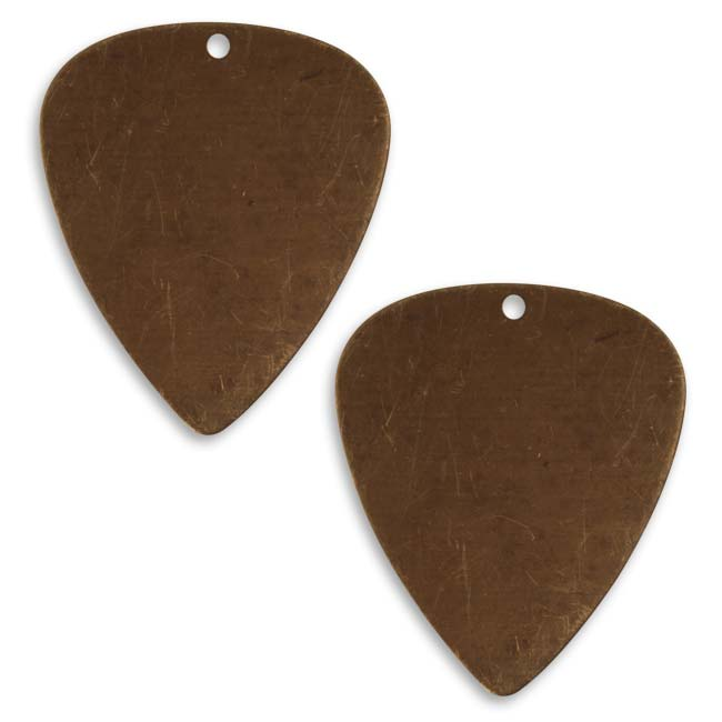Vintaj Natural Brass Altered Blank Stamping Guitar Pick 31x26.5mm (2)