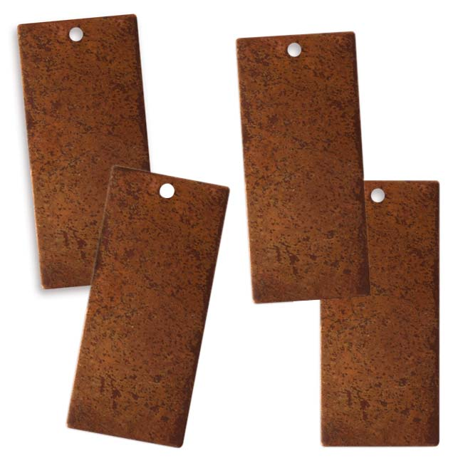 Vintaj Artisan Copper Blank Rectangle Blank Pendant 23x12.5mm (4)