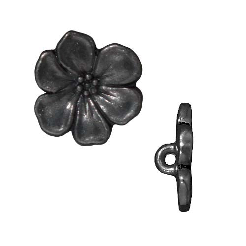 TierraCast Black Finish Pewter Lead-Free Apple Blossom Buttons 15.5mm (2)