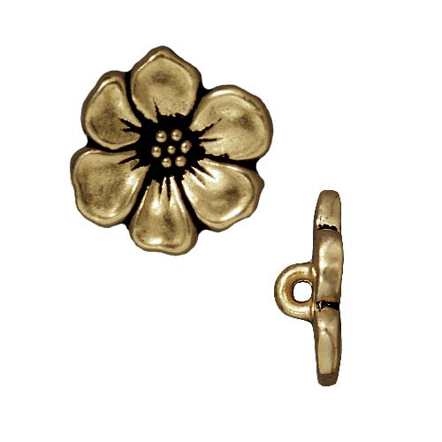 TierraCast Brass Oxide Finish Lead-Free Pewter Apple Blossom Buttons 14mm (2)