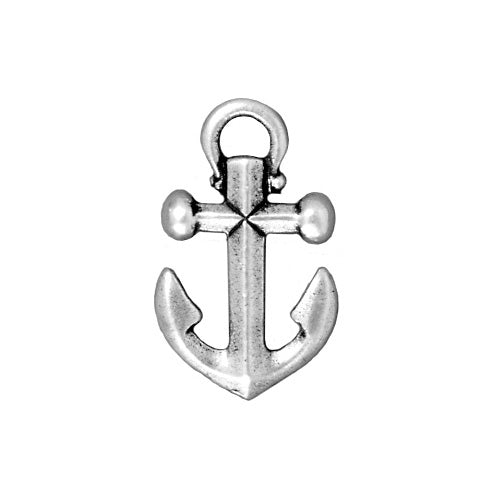 TierraCast Antiqued Silver Plated Pewter Anchor Pendant 27mm (1)