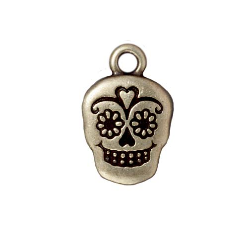TierraCast Brass Oxide Finish Pewter Dia De Los Muertos Sugar Skull Pendant Charm 19mm (1)