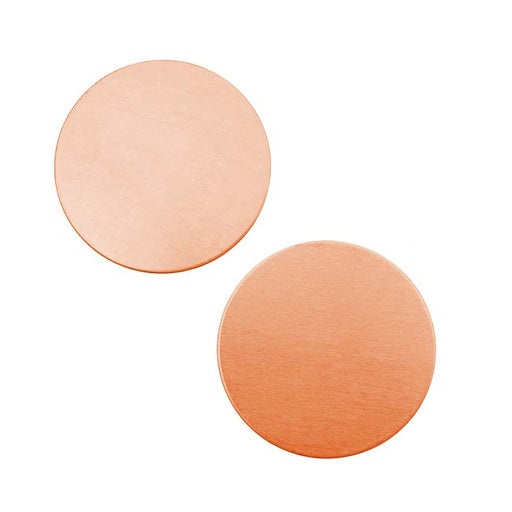 Solid Copper Round Stamping Blanks - 25mm Diameter 24 Gauge (2)