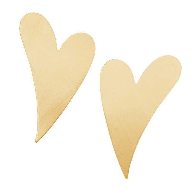 Solid Brass Long Artisan Heart Stamping Blanks - 37x25mm 24 Gauge (2)