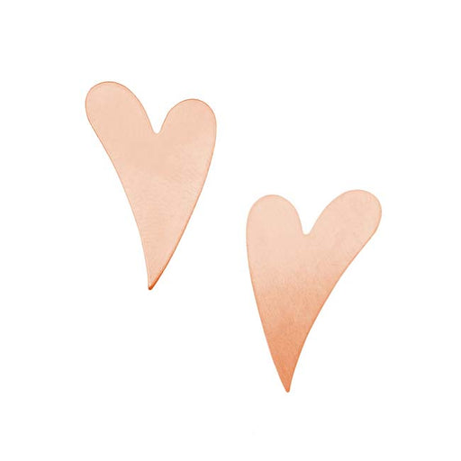 Solid Copper Artisan Heart Stamping Blanks - 25.5x16.5mm 24 Gauge (2)