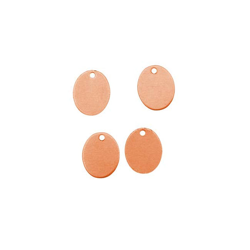 Solid Copper Oval Tag Pendant Blanks - 11x9mm 24 Gauge (4)